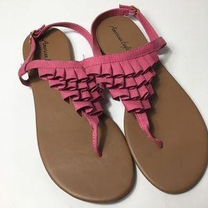 American Eagle Pink Ruffled Sandals, 11M